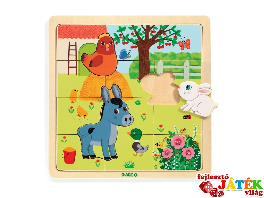 12 db-os fa kirakó, A tanya állatai, Djeco puzzle - 1814 (2-4 év)