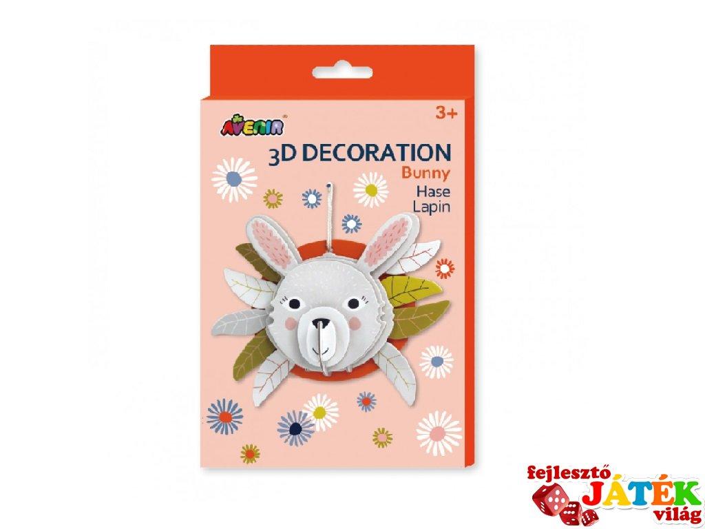 3D dekorációs puzzle Nyuszi, kreatív készlet (Avenir, 3-6 év)