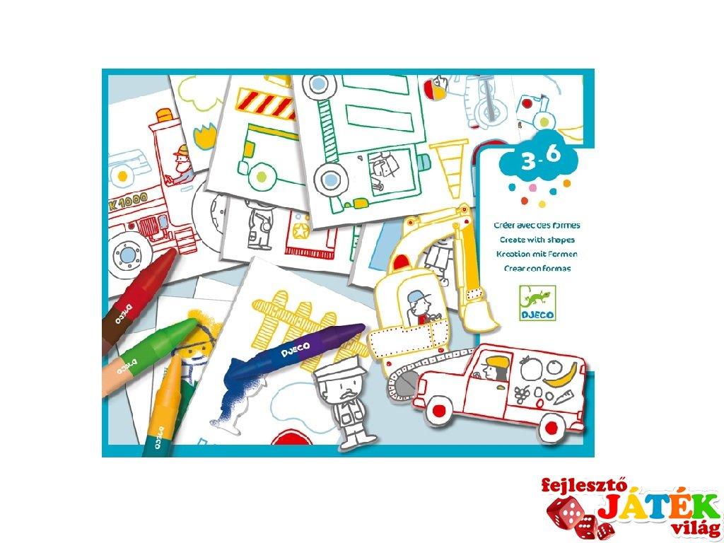 A world to create cars, Djeco rajztanítást segítő kreatív készlet - 8995 (3-6 év)