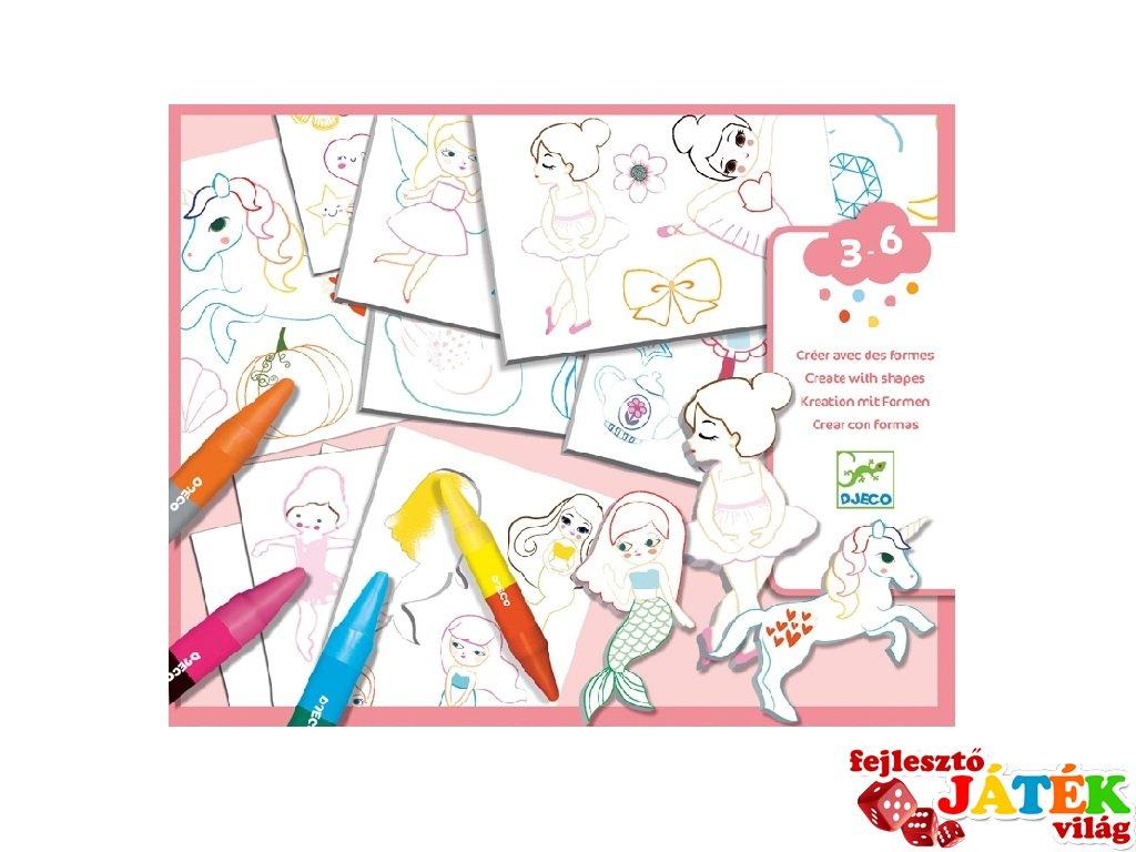 A world to create girls, Djeco rajztanítást segítő kreatív készlet - 8996 (3-6 év)