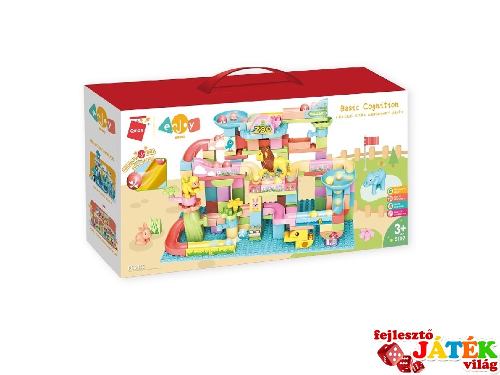 Állatkert szuper golyópályával, Lego Duplo kompatibilis építőjáték készlet (QMAN, 5107, 3-6 év)