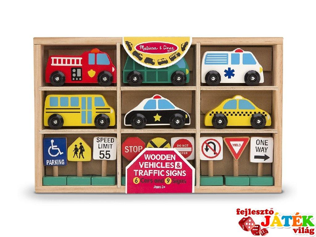 Autók és közlekedési táblák fából, 15 db-os jármű készlet (MD 3177)