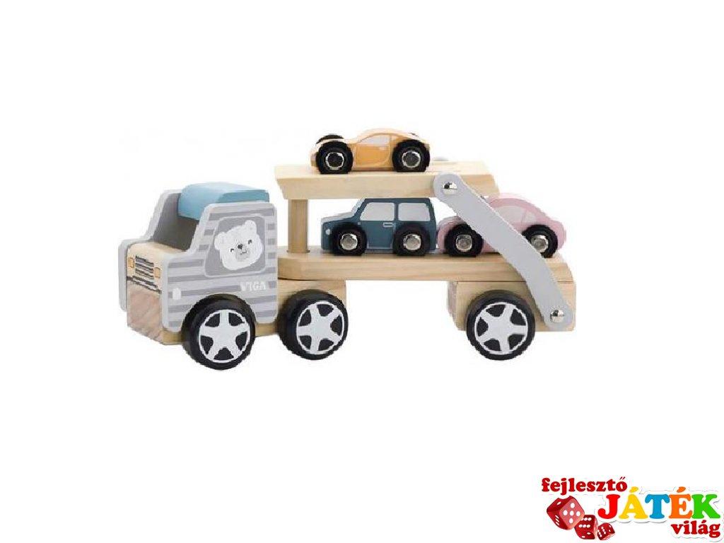 Autószállító kamion 3 db kisautóval, fa szerepjáték (FK, pasztell, 18 hó-5 év)