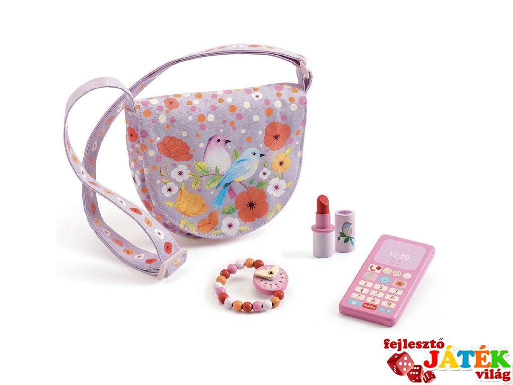 Birdie táska kiegészítőkkel, Djeco csajos kiegészítő és szerepjáték - 6686 (3-7 év)