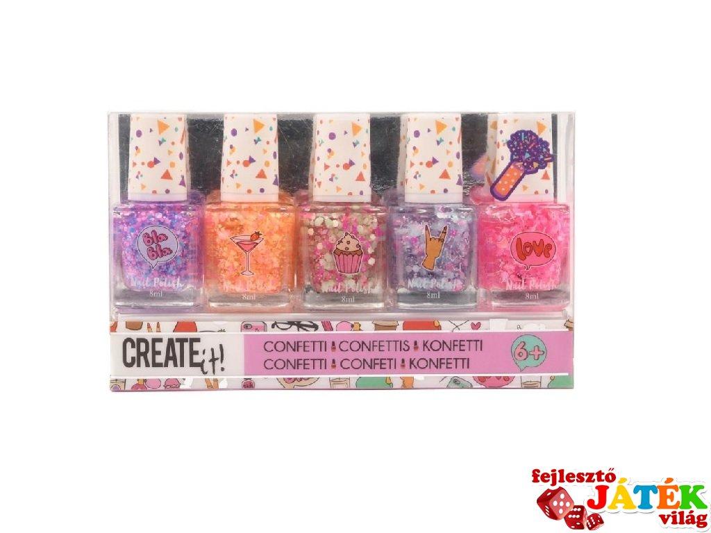 Canenco Create It! Konfetti körömlakk szett 5 db-os, kreatív készlet (többféle, 6-10 év)