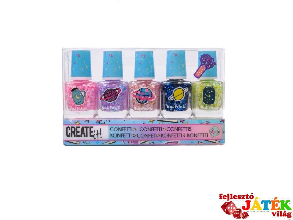 Canenco Create It! Körömlakk 5 db-os szett konfettivel, kreatív készlet (6-10 év)