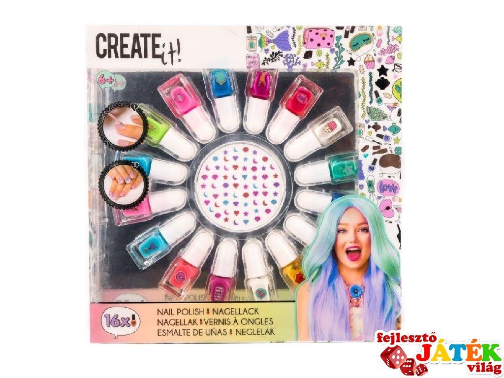 Canenco Create It! Körömlakk szett 16 színnel és köröm matricákkal, kreatív készlet (6-10 év)