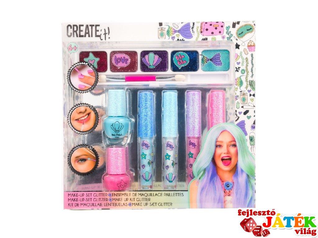 Canenco Create It! Make-Up szett csillámos sellő színekkel, kreatív készlet (6-10 év)