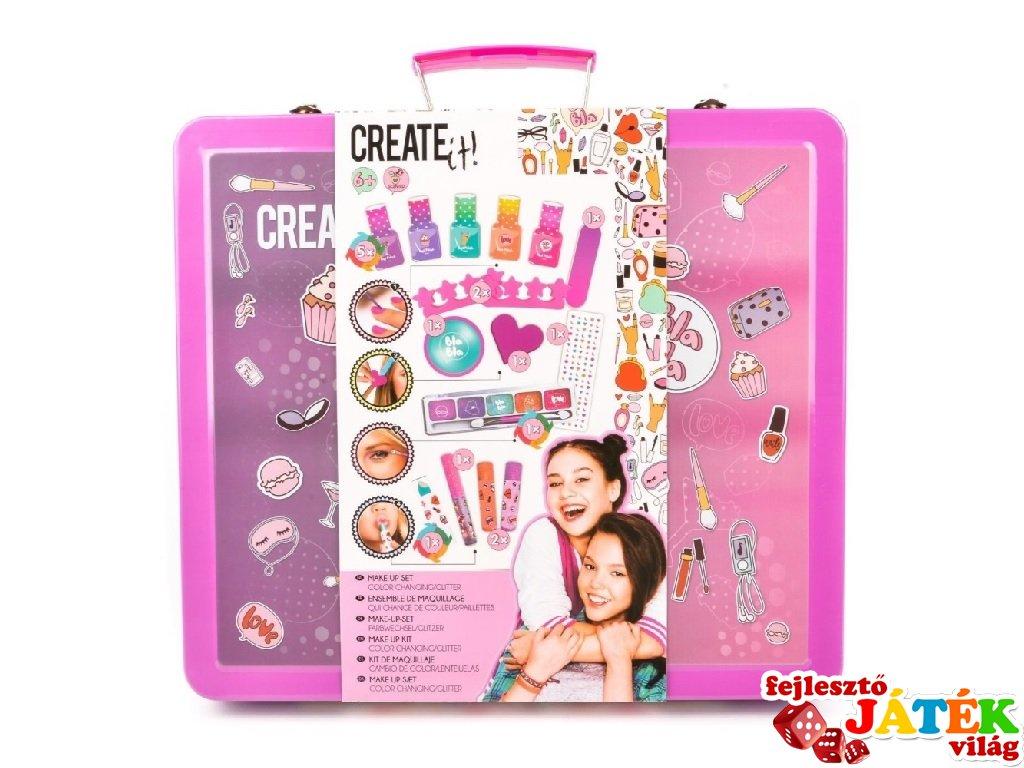 Canenco Create It! Make-Up szett fém bőröndben színváltós színekkel, kreatív készlet (6-10 év)
