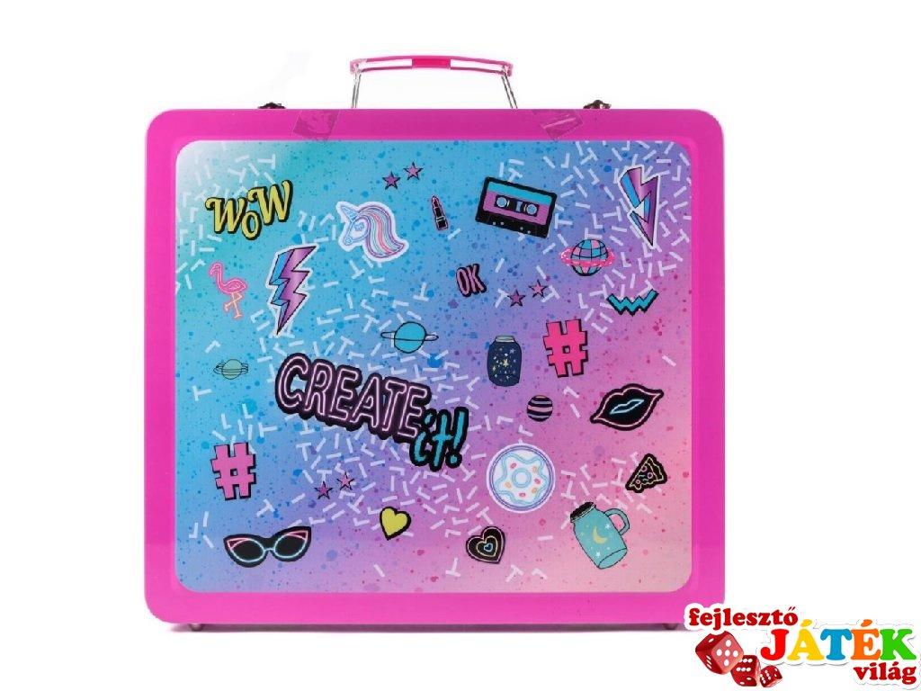 Canenco Create It! Make-Up szett neon és csillámló színekkel fém bőröndben, kreatív készlet (6-10 év)