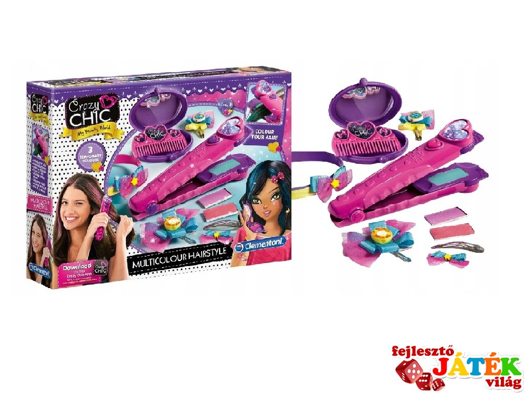 Crazy Chic Multicolour Hairstyle fodrász szalon, kreatív szett (CLEM, 6-12 év)