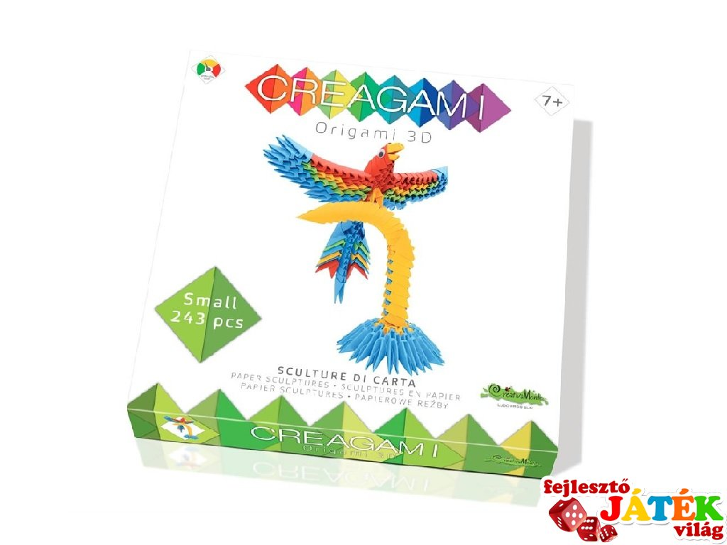 Creagami 3D origami készlet, Papagáj kicsi (7-99 év)
