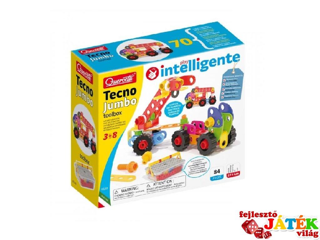Csavarozós építőjáték, Quercetti Tecno Jumbo 90 db-os kreatív készlet (6150, 5-8 év)