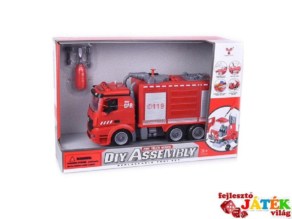 Csináld magad összeszerelhető tűzoltóautó fény és hang effektekkel 1:12-es méretarány, kreatív szett (3-7 év)