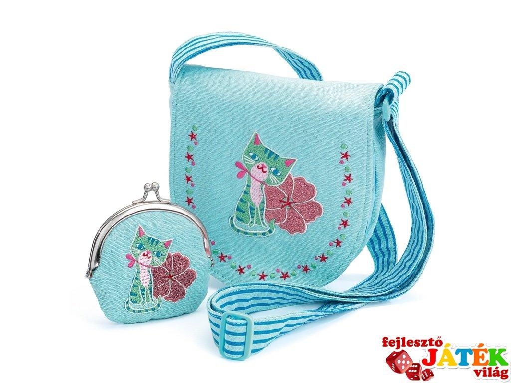 6c333f76a22c Djeco hímzett cicás táska pénztárcával (6679)