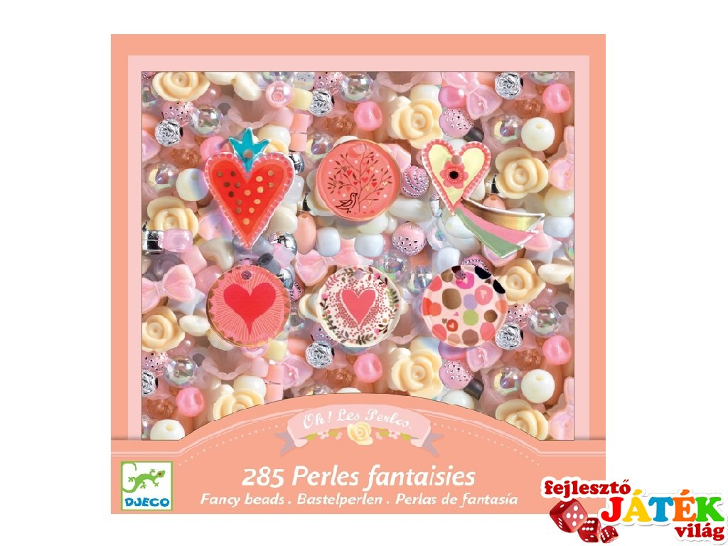 Ékszerkészítő szett gyöngyökkel Hearts, Djeco kreatív készlet - 9855 (6-10 év)