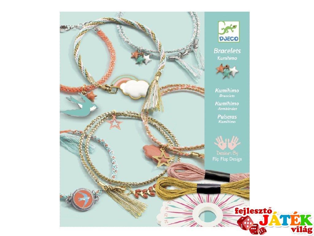 Ékszerkészítő szett, Kumihimo karkötők, Celeste (Djeco, 9818, kreatív készlet, 6-11 év)