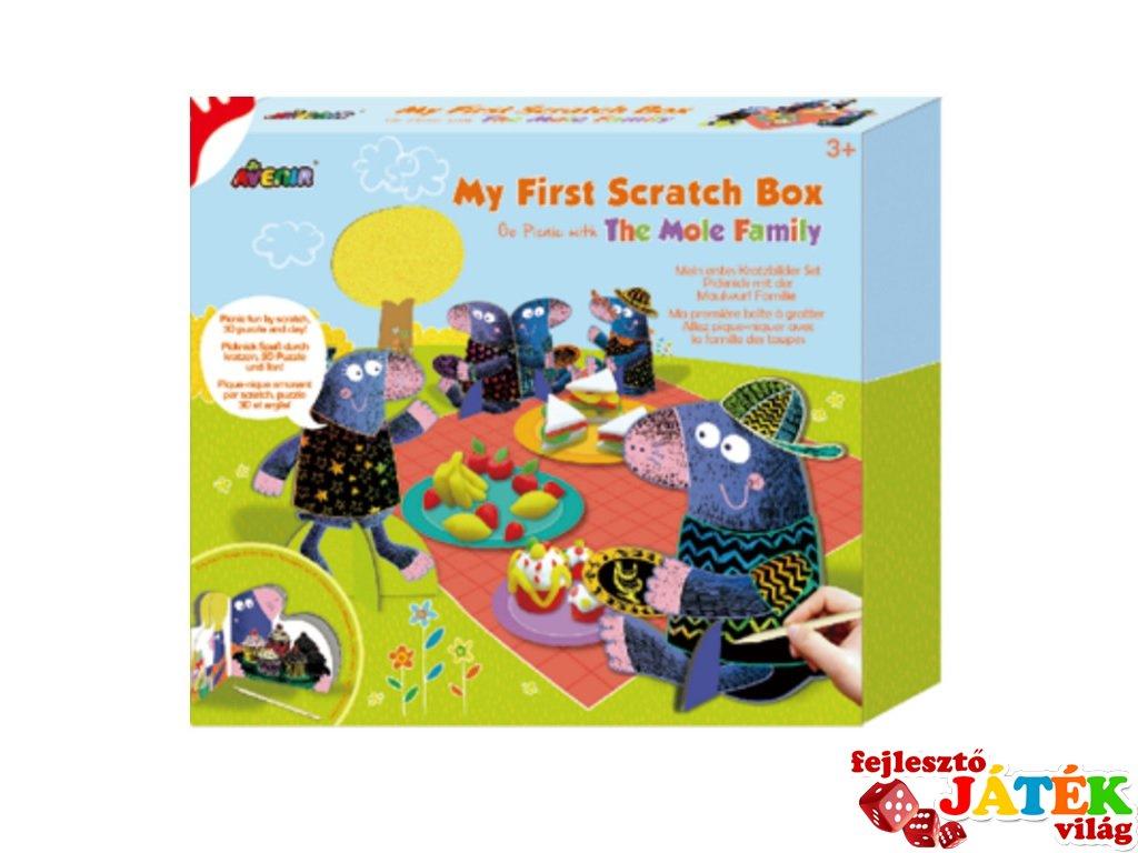 Első képkarcoló dobozom Vakond család, kreatív játék (Avenir, 3-6 év)