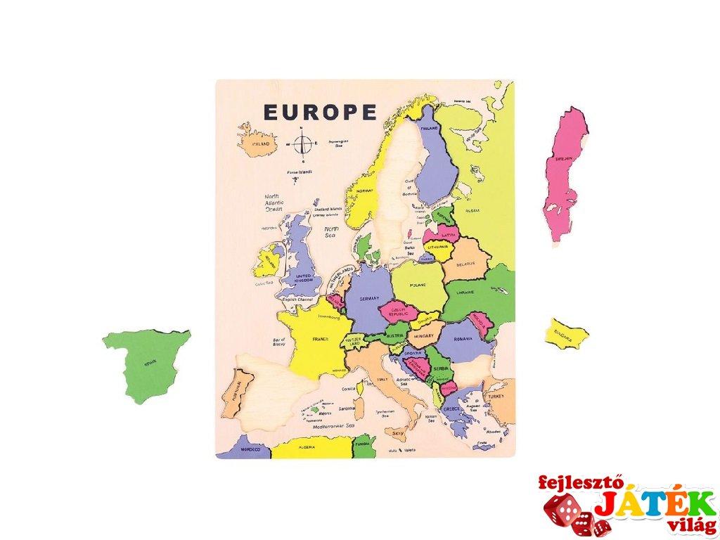 európa térkép játék Európa térkép 19 db os fa puzzle   Fejlesztő Játék Világ európa térkép játék