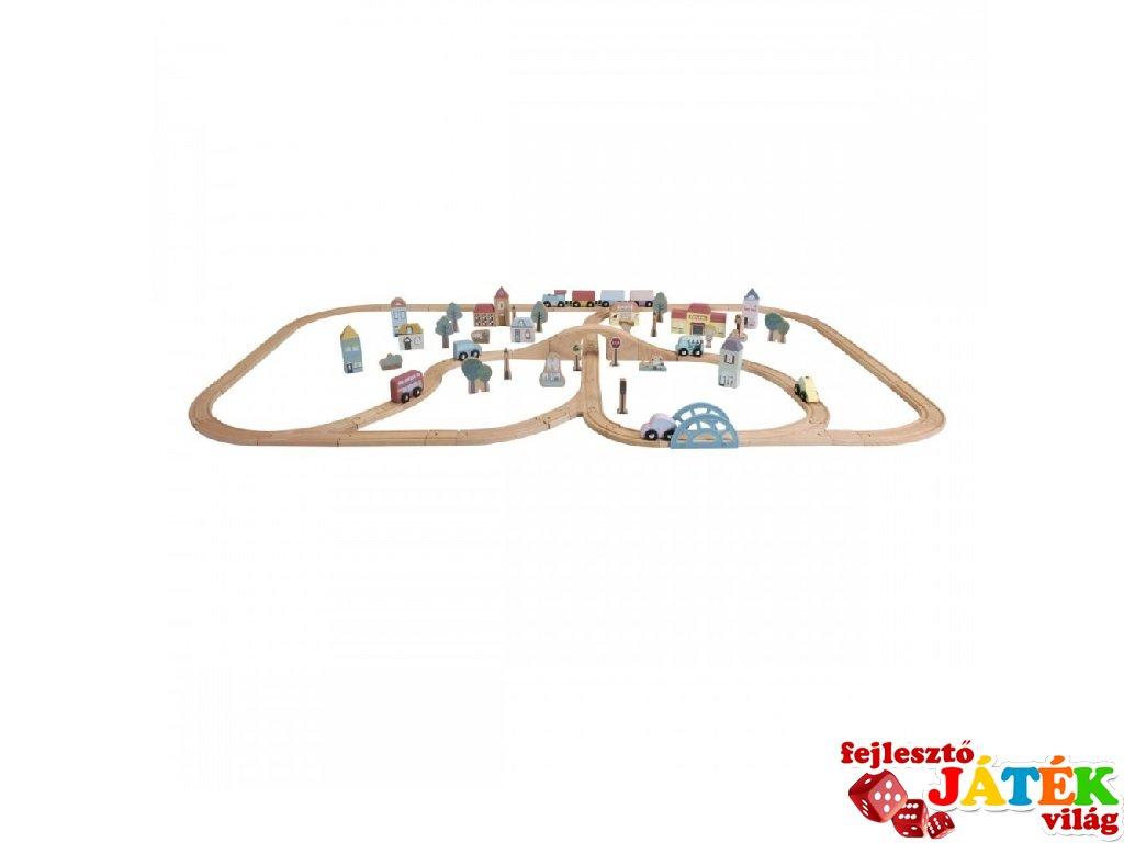Fa vasút szett XXL, Little Dutch 108 db-os szerepjáték (4487, 3-7 év)