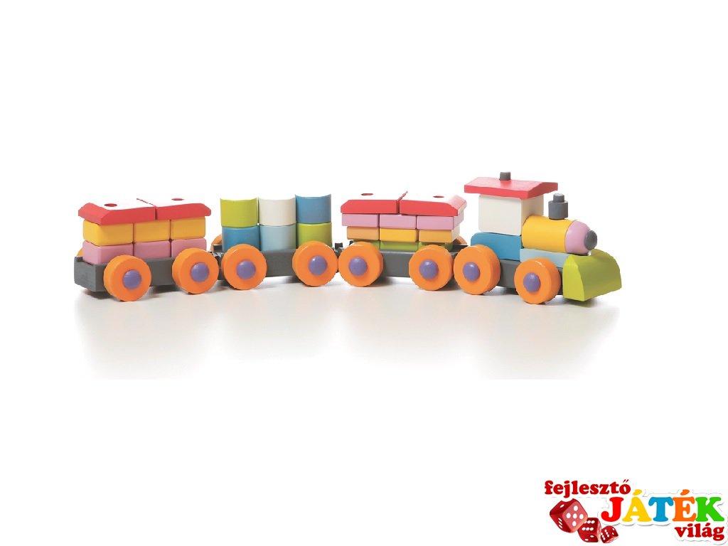 Fa vonat készlet, 37 db-os építőjáték (2-4 év)