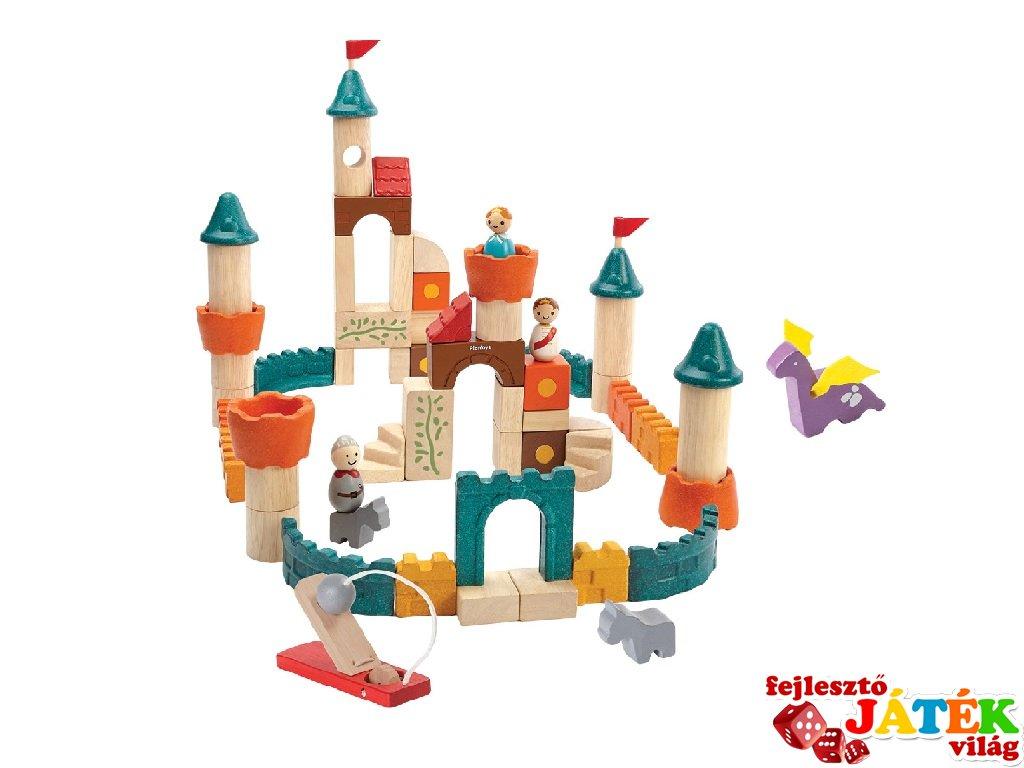 Fantázia kastély, 60 db-os építő kocka készlet fából (PT, 5696, 3-6 év)