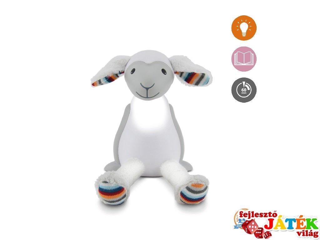 Fin bárány olvasólámpa automatikus kikapcsolóval szürke, gyerekszoba kiegészítő (ZA)