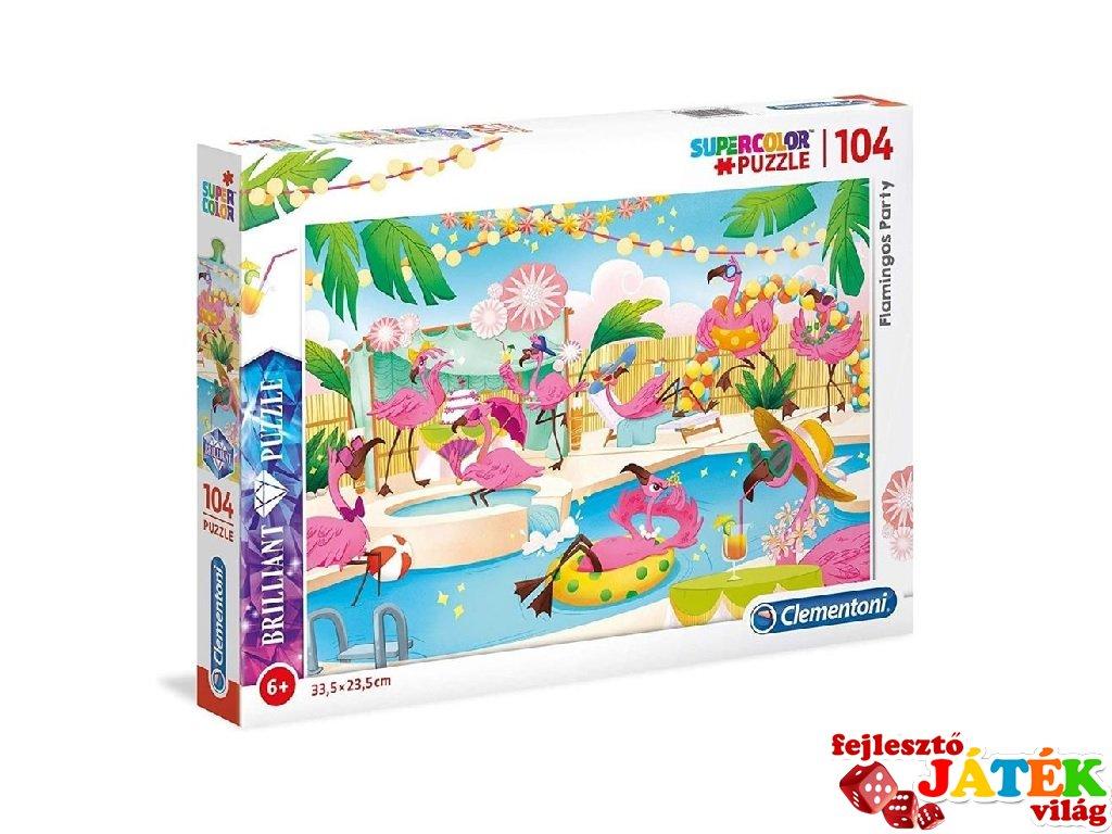 Flamingó party puzzle, 104 db-os kirakó (CLEM, 6-8 év)