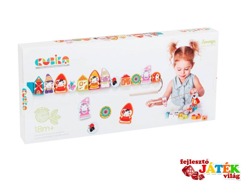 Gyöngyfűző készlet Törpék, fa készségfejlesztő játék (18 hó-3 év)