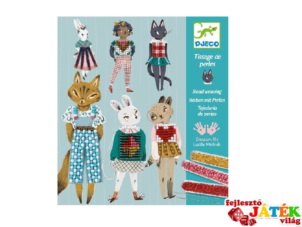 Gyöngyszövés Csini cicák, Djeco kreatív képkészítő - 9843 (8-14 év)