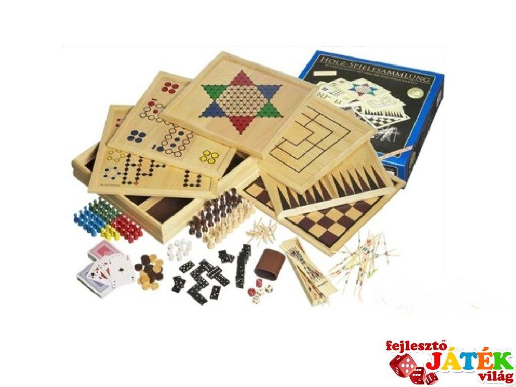 Hatalmas fából készült játékgyűjtemény (12-féle játék egyben)