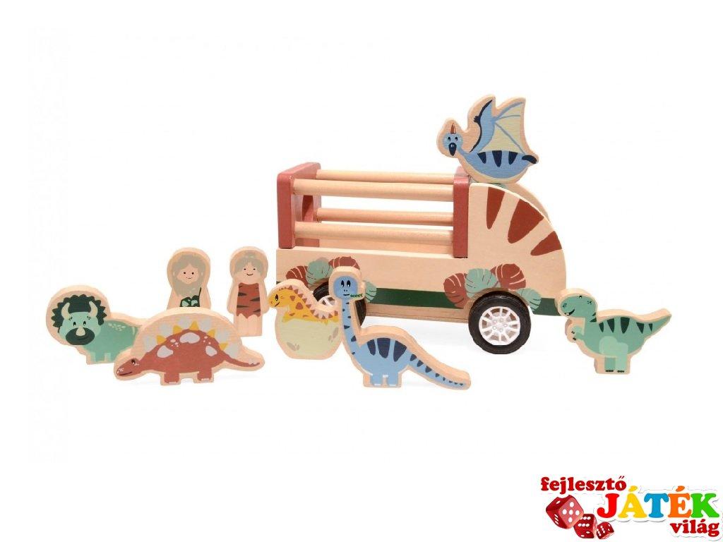 Hátrahúzható dinoszaurusz szállító autó dínókkal, fa szerepjáték (3-7 év)