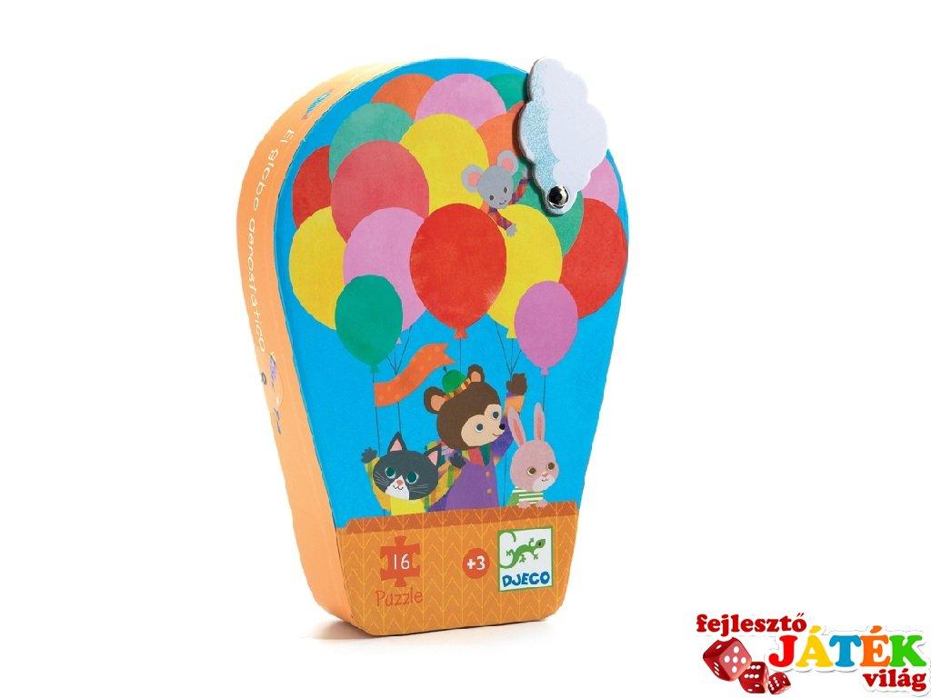 Hőlégballon utazás 16 db-os formadobozos puzzle, Djeco kirakó - 7270 (2-4 év)