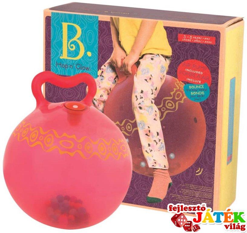 Hopp n'Glow™ világító ugrálólabda pillegolyókkal piros, B.Toys mozgásfejlesztő játék (2-5 év)