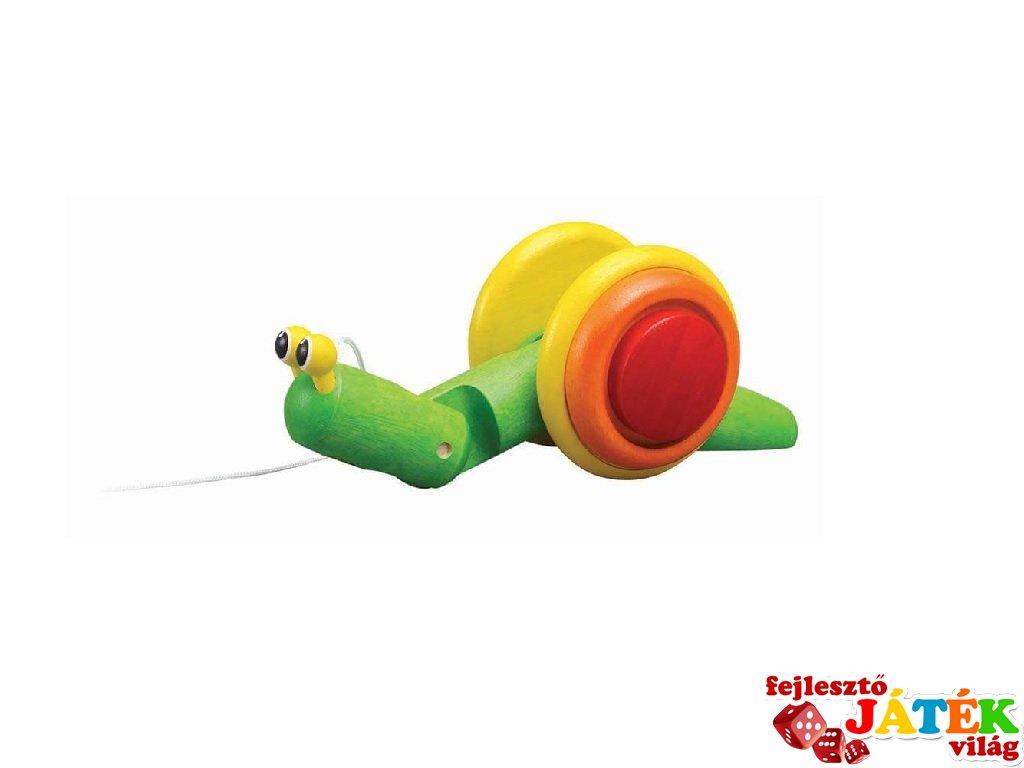 Húzható csiga, Plan Toys mozgásfejlesztő fa bébijáték