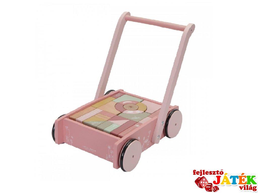 Járássegítő építőkockákkal, Little Dutch fa mozgásfejlesztő bébijáték, pink (7020, 1-4 év)