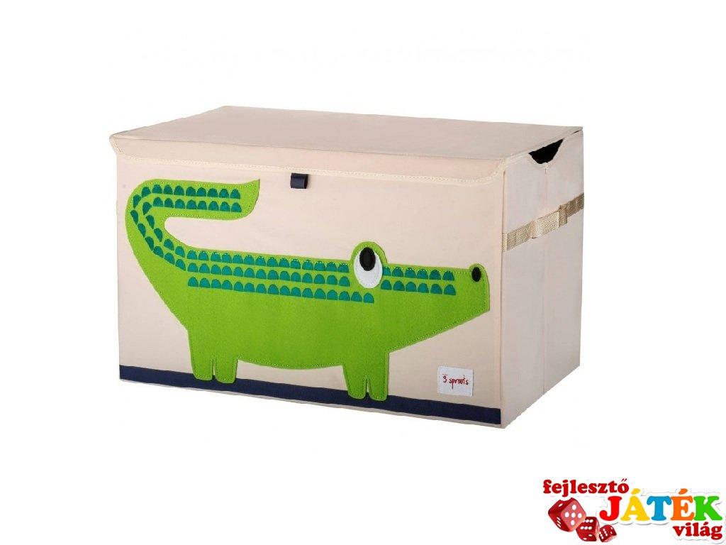 Játéktartó láda krokodil, gyerekszoba kiegészítő (3SPR)