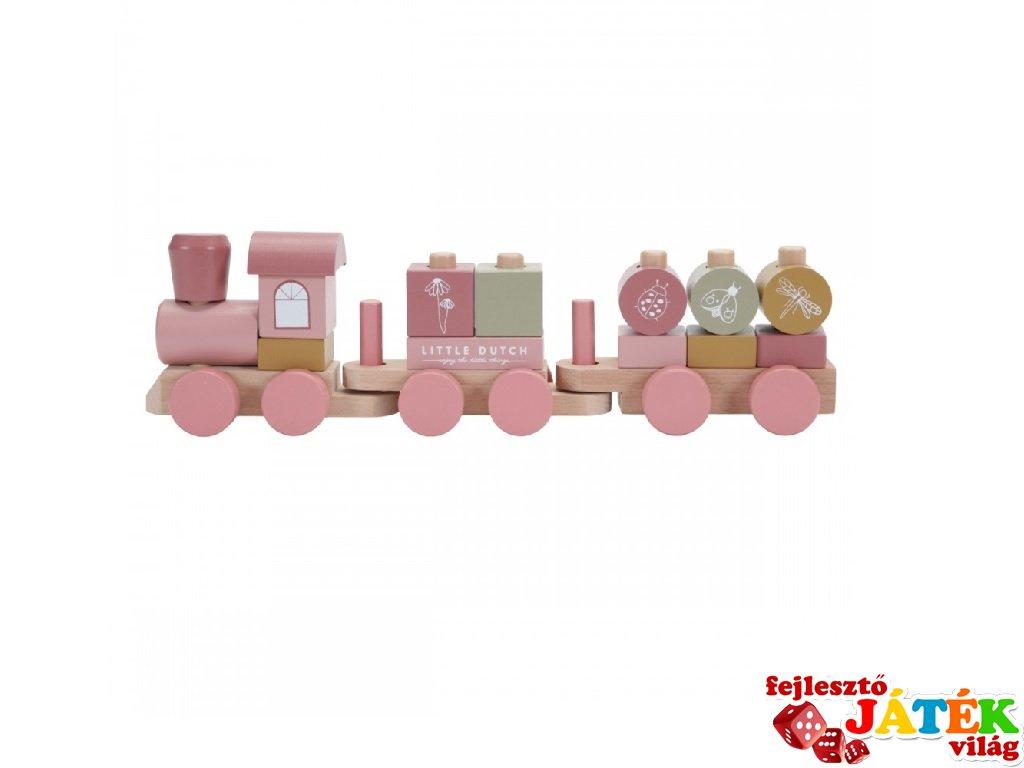 Játékvonat építőelemekkel, Little Dutch fa szerepjáték, pink ÚJ VÁLTOZAT (7035, 1-4 év)