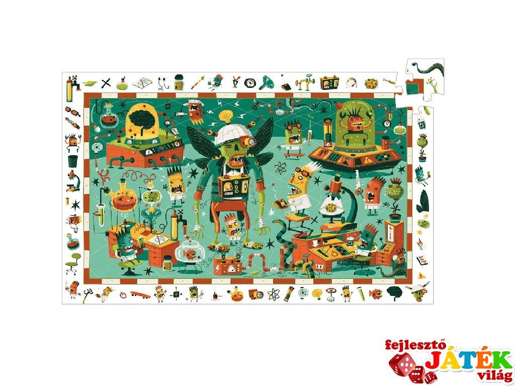 Képkereső puzzle, Őrült labor (Djeco, 7455, 200 db-os kirakó, 6-12 év)