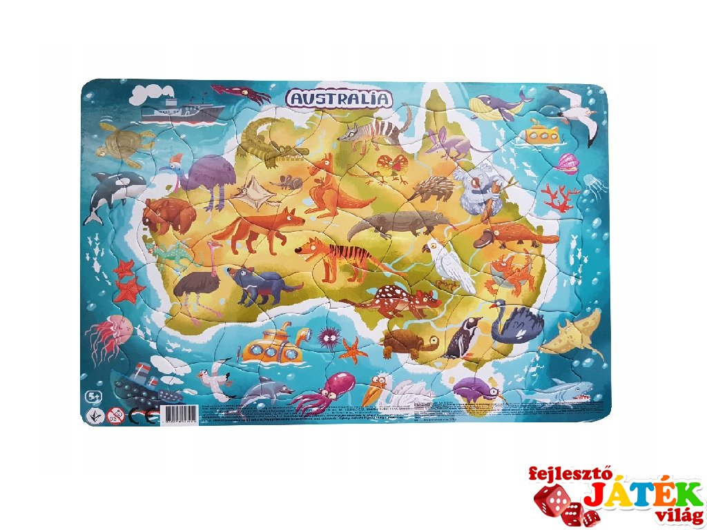 Keretes puzzle Ausztrália, 53 db-os kirakó (DO, 5-8 év)