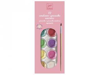 12 gyöngyház fényű, korongos gouache festék (Djeco, 9739, kreatív készlet, 5-12 év)