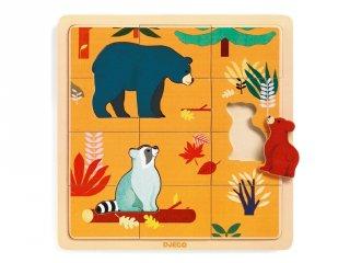 16 + 3 db-os fa kirakó, Kanadai állatok (Djeco, 1811, medvés puzzle, 2-5 év)