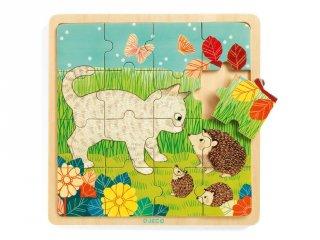 16 db-os fa kirakó, Kerti állatok (Djeco, 1813, puzzle, 2-5 év)