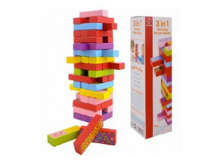3 játék az 1-ben (jenga, dominó, memória), (FP, 3967, családi társasjáték, 4-99 év)