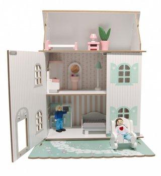 3 szintes babaház bútorokkal és babákkal, fa szerepjáték (3-8 év)