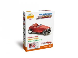 3D Puzzle, Piros oldtimer autó (HW, felhúzható kirakó, 5-9 év)