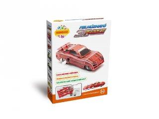 3D Puzzle, Piros versenyautó (HW, felhúzható kirakó, 5-9 év)