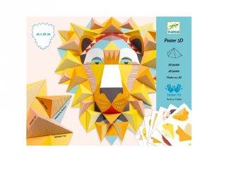 3D-s poszterkészítés Oroszlán, Djeco kreatív szett - 9447 (8-14 év)