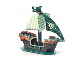 3D-s puzzle, Kalózhajó (Djeco, 7709, 23 db-os kemény karton kirakó, 3-8 év)