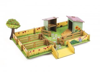 3D-s puzzle, Marie farmja (Djeco, 7711, 43 db-os kemény fakarton kirakó, 3-8 év)